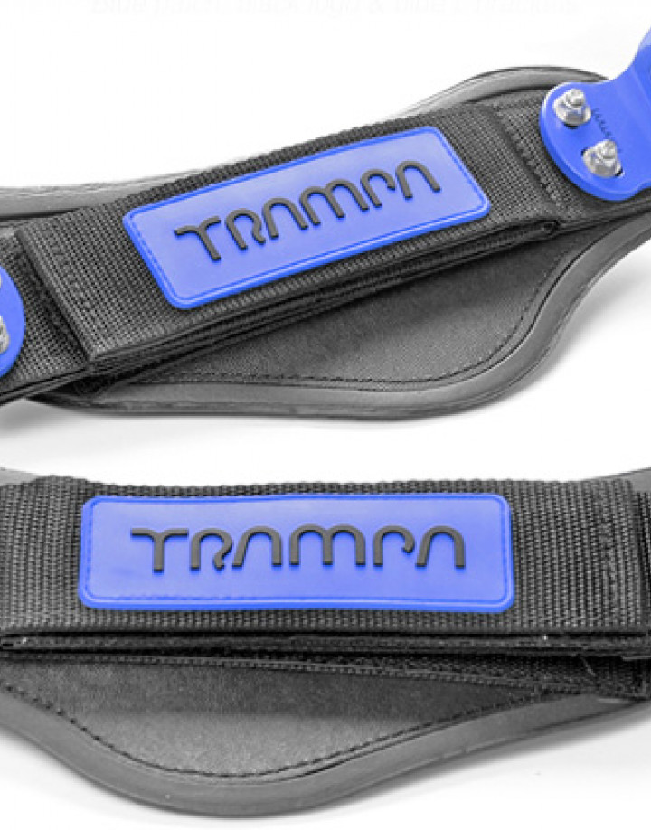 Nylon Hook Bindings - Blue patch with Black logo straps with Blue L Brackets